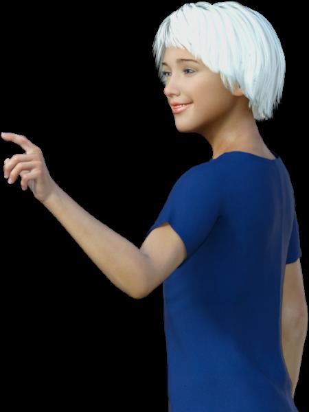 إيفا (عارضة افتراضية) تشير إلى بيانات التواصل
