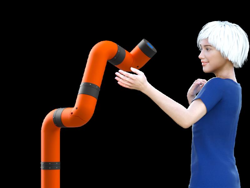 Ava (virtual model) approaching M2, a collaborative robotic arm (cobot).