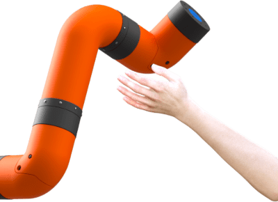 Ava (virtual model) hand approaching M2, a collaborative robotic arm (cobot).
