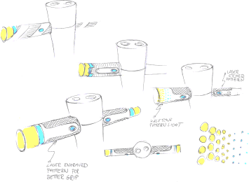 Sketch of scooter handle bars featuring yellow turning signal lights.