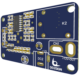 Control PCB chip in blue colour and golden contacts