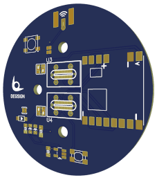 Control PCB chip in circular shape and blue colour and golden contacts.