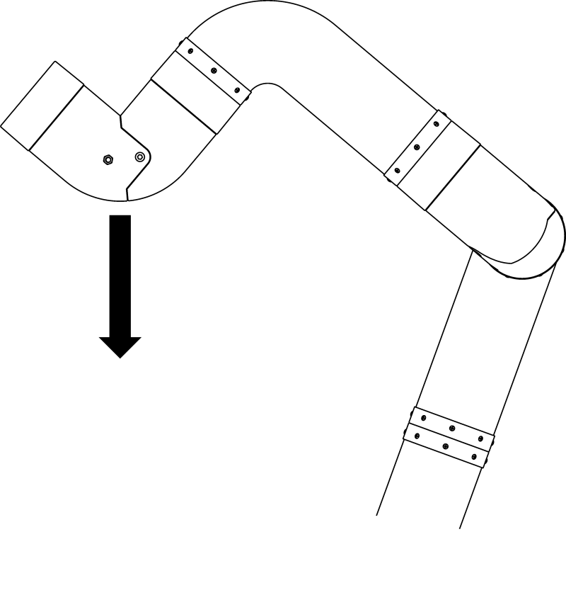 M2 cobot arm modular robot arm outline with an arrow indicating loading