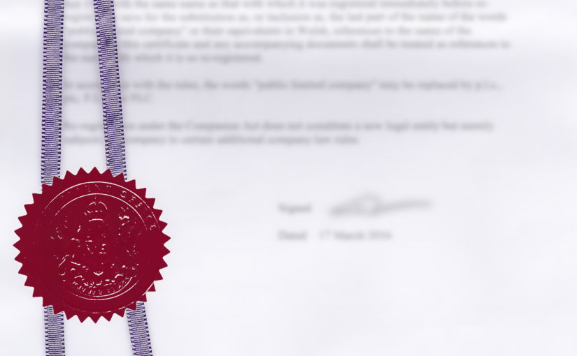 Patent application certificate with blurred details.