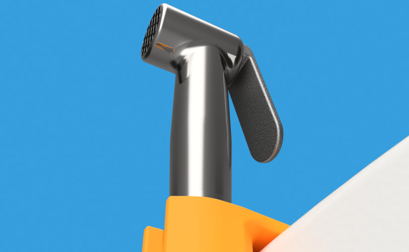 Render of a plastic holder for toilet spray.