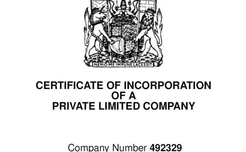 UK company incorporation.