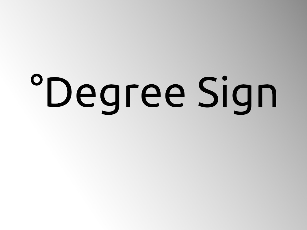 Degree Sign word mark on a blank background.