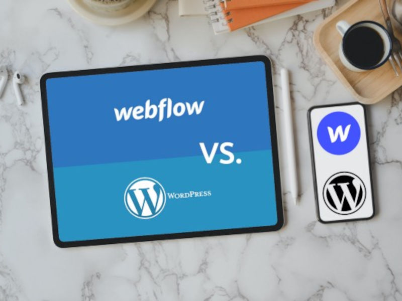 Logos of Webflow and WordPress on an iPad and a phone.