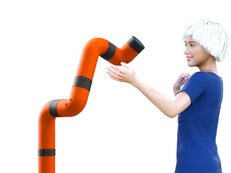Ava (virtual model) approaching a cobot robot