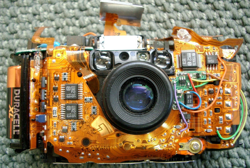Internal components of a camera showcasing a rigid-flex PCB
