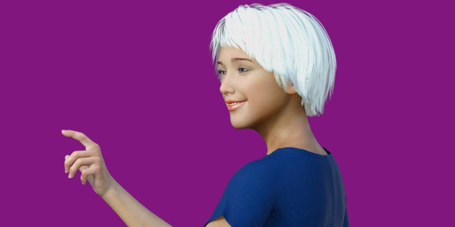 Ava (virtual model) pointing left
