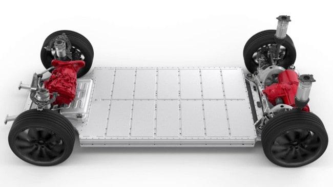 Tesla Model Sskateboard structure featuring two brushless motors.