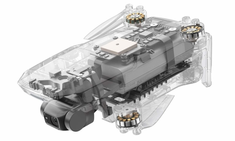 DJIMini 2 quadcopter design featuring out-runner motors