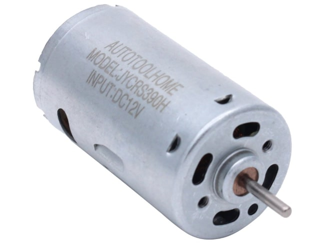 Photo of a small cylindrical DC motor showing its model number and input voltage 12 volts.