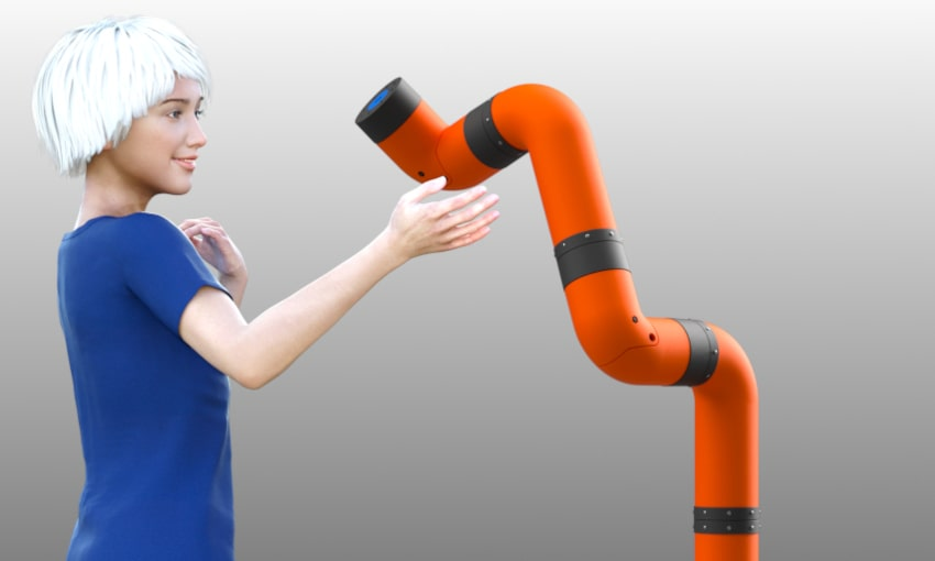 Render of our upcoming modular cobot arm M2 Cobot arm, with a virtual model