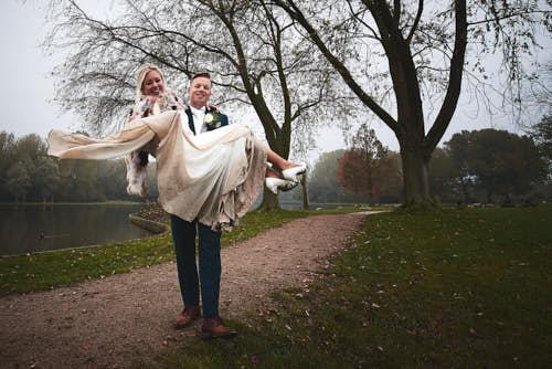dirty wedding dress during portrait shoot