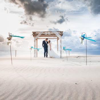 wedding portrait on the beach