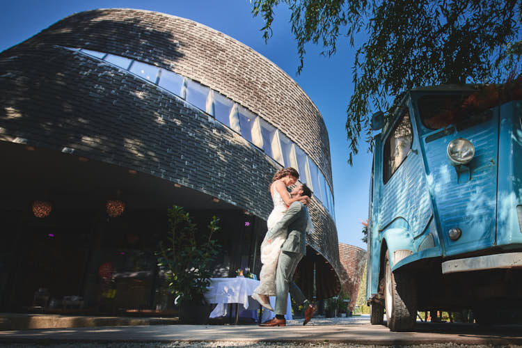 Bruidspaar trouwportret paviljoen puur diemen