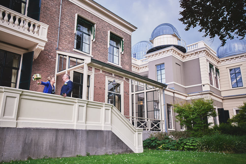 wedding portraits at the observatory in leiden