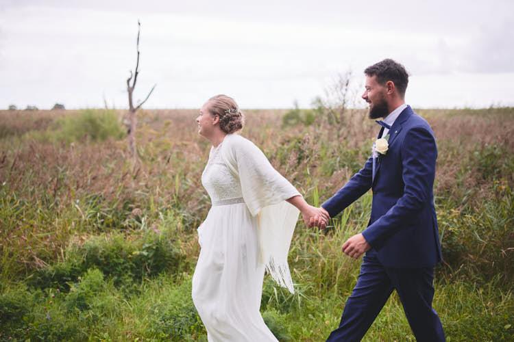 wedding couple taking a walk