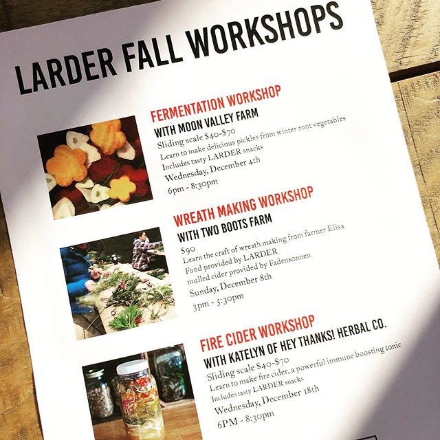 Our holiday-season line up of WORKSHOPS! Come out and learn from some of our favorite farmers and makers. All workshops are hands-on and you take home the results! Sign up on our website, link in profile. @moonvalleyfarm @twobootsfarm @heythanksherbalco