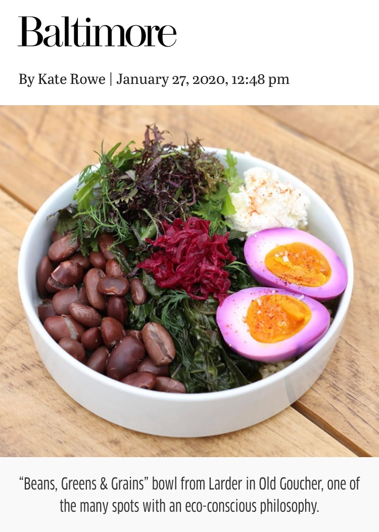 So thrilled that @baltmag decided to cover restaurants with an eco-conscious approach... and decided to feature this image of our Beans, Greens and Grains with a Beet Brine Soft Egg. We're all about food that tastes good, feels good, and does good. Link to article in our bio...And check out our composting buds: @realfoodfarm @compostcab