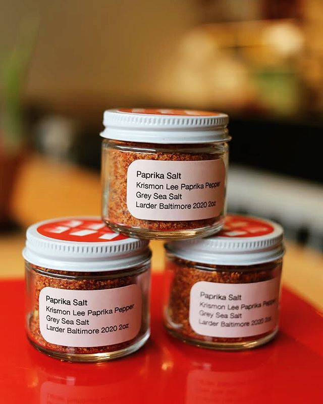 Remember these beautiful Krimzon Lee Paprika Peppers grown locally by @moonvalleyfarm hanging in the courtyard last September? (See 2nd image to refresh your memory). We dried them and mixed em with French Grey Sea Salt ... and we're super excited about how delicious this new Paprika Salt is. #newintheshop #paprikapower #sprinkleiton