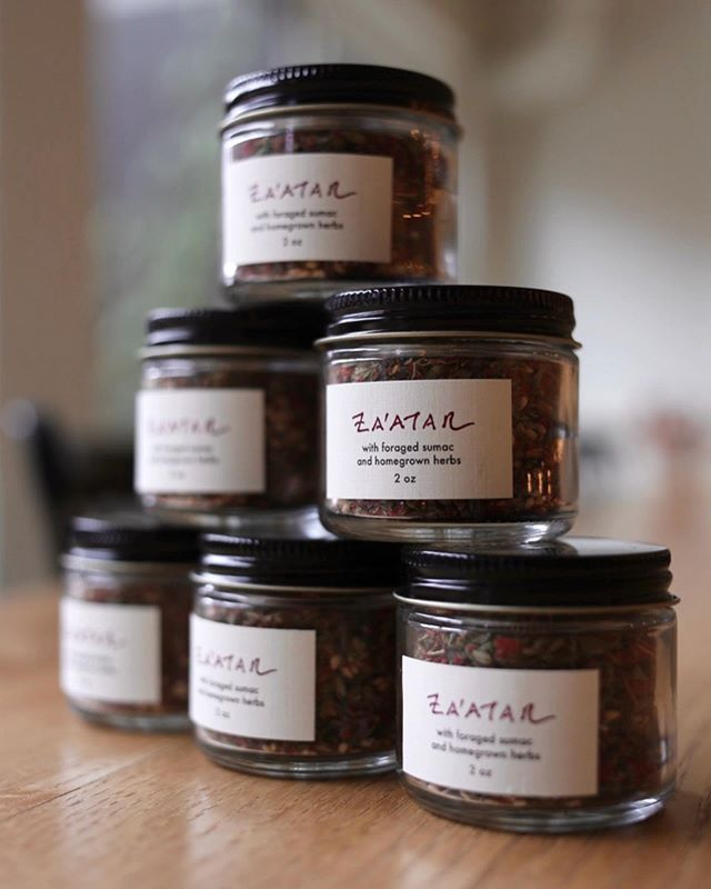 Za'atar is a favorite Middle Eastern spice blend, and our friend @priyameanslovebodycare  made this batch just for Larder, using sumac she forged in the Adirondacks,  @ansonmills Benne, homegrown Thyme, Marjoram, Oregano and French Grey Sea Salt.  Perfect for anything that needs a little herbal salty tang. Hummus, Roasted Chicken, Salad etc.