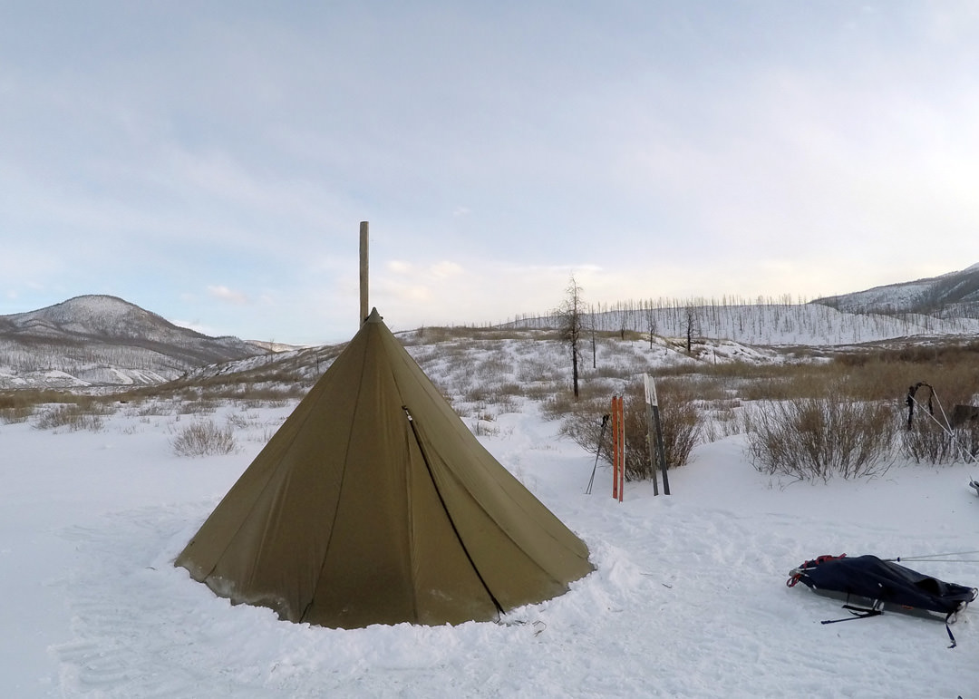 Kifaru tipi hot tent. Camping on the way to Joshim Nuur. Photo: Andy Parkinson