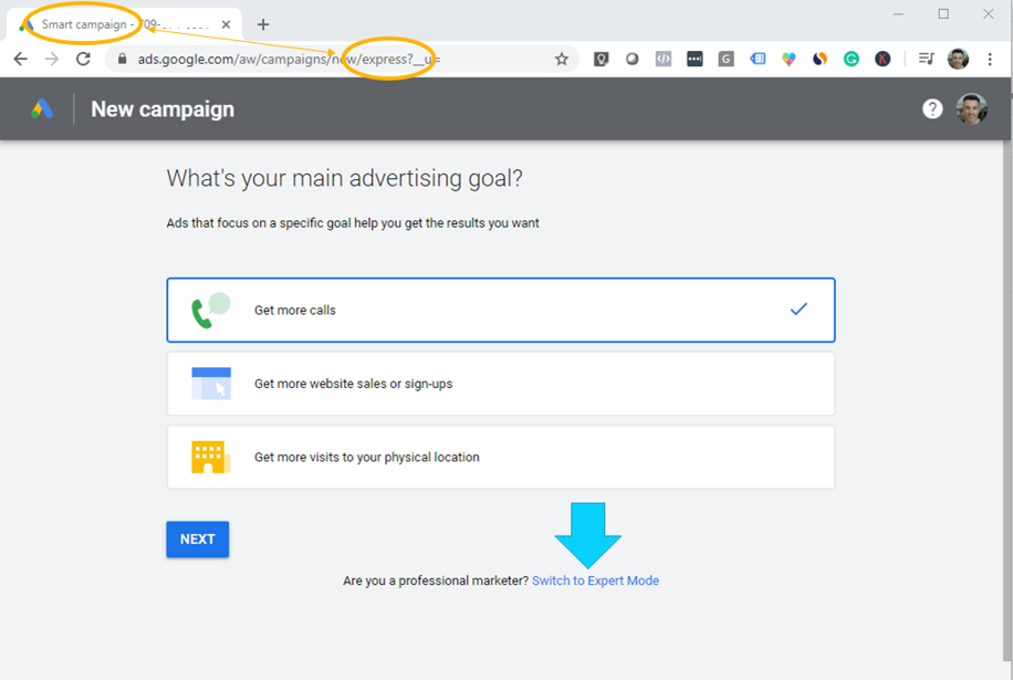 setting up your campaign goal (calls, conversions or in store visits)