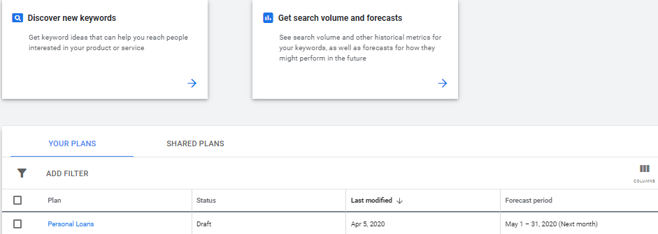 keyword planner forecasting