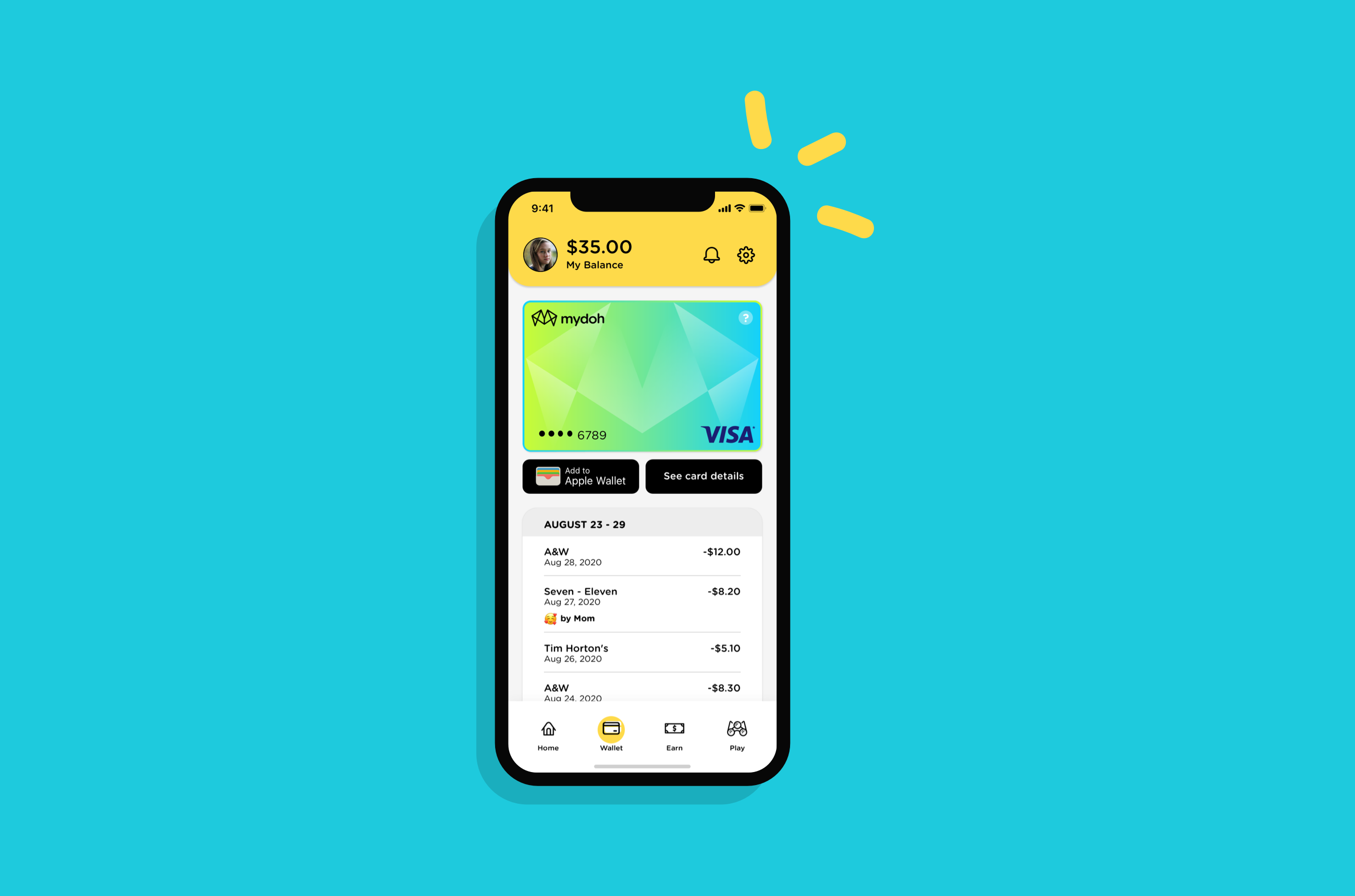 Mydoh app open on a mobile phone showing child wallet screen