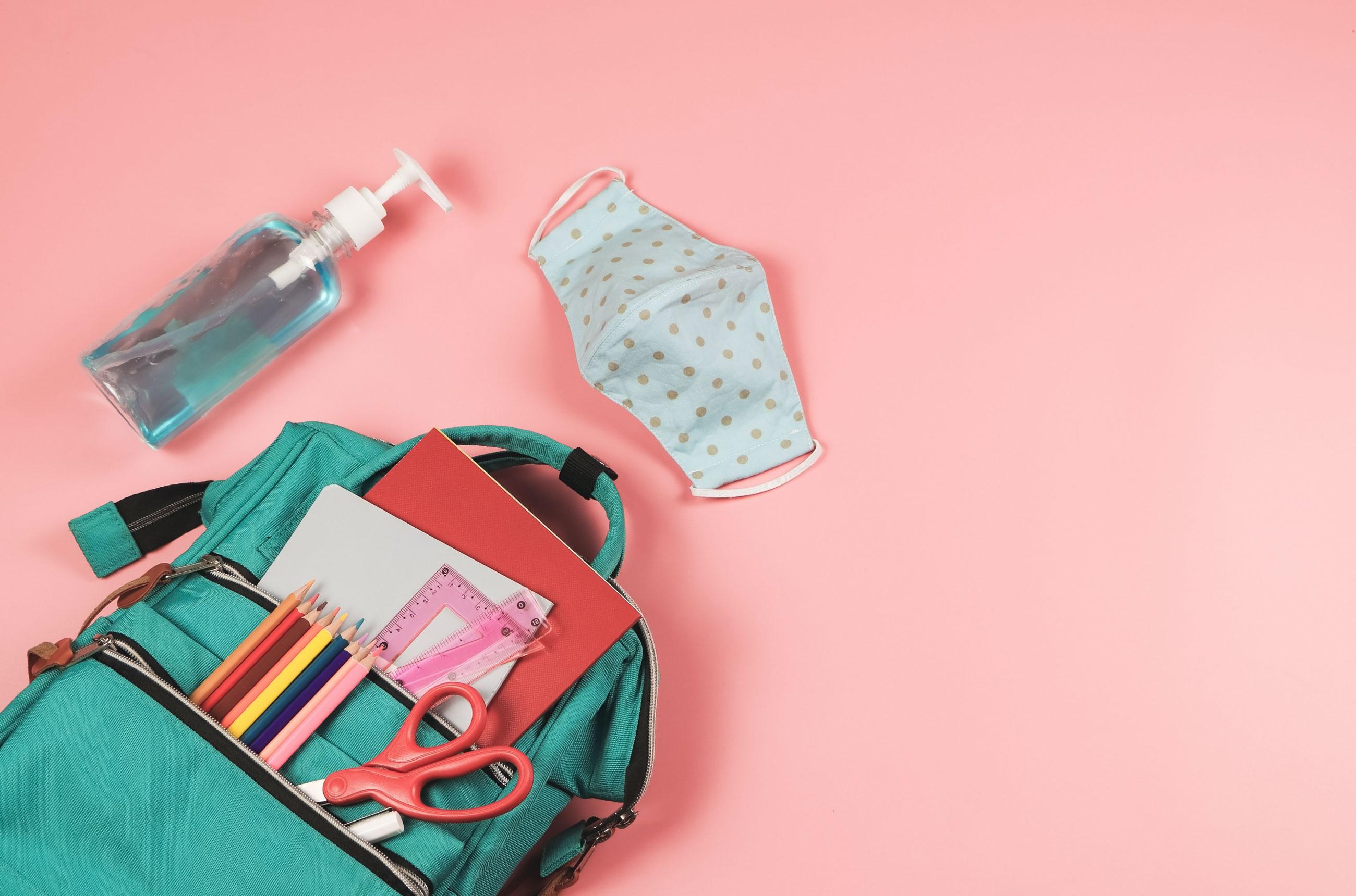 Backpack, sanitizer and mask