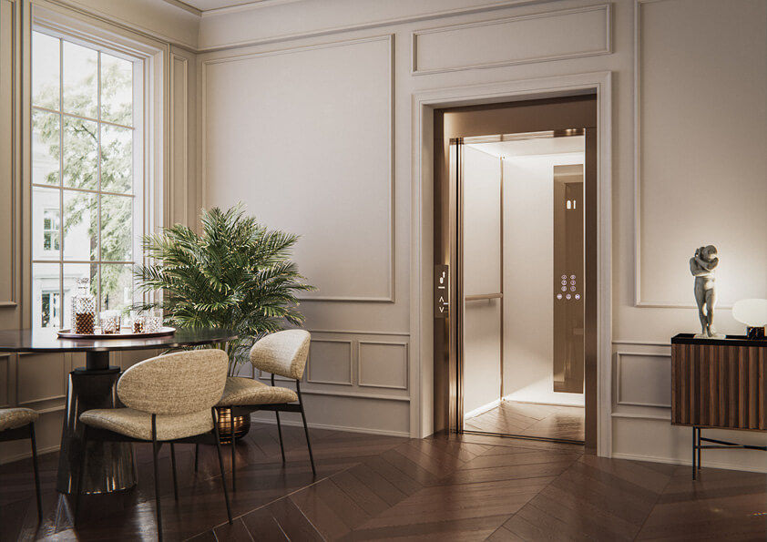 A luxury home lift with parquet flooring designed for a apartment in Kensington
