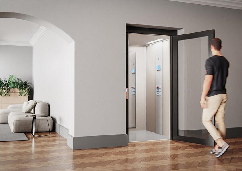 Home lift with a swing door