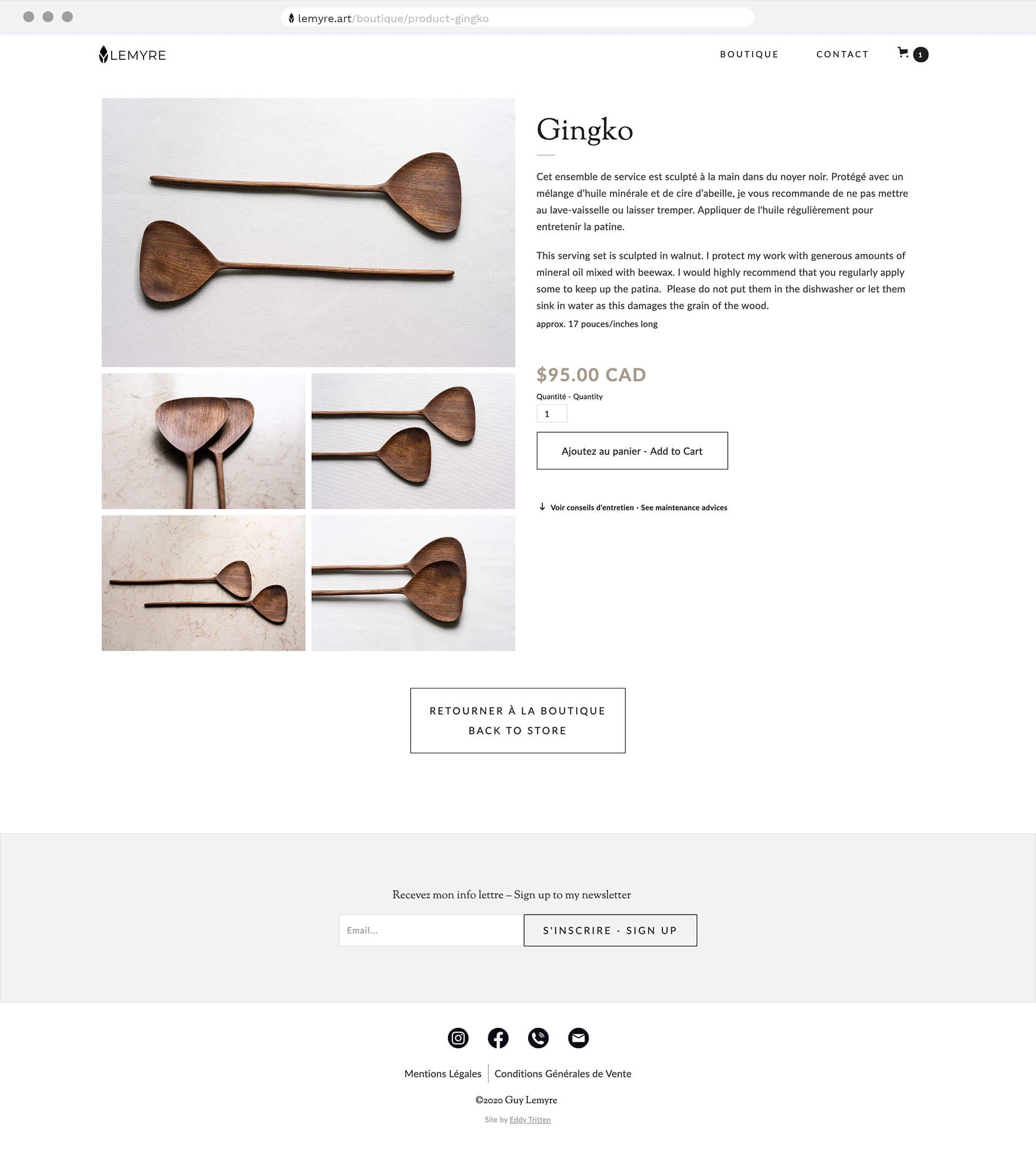 Product page design from Guy Lemyre's online store by Eddy Tritten.