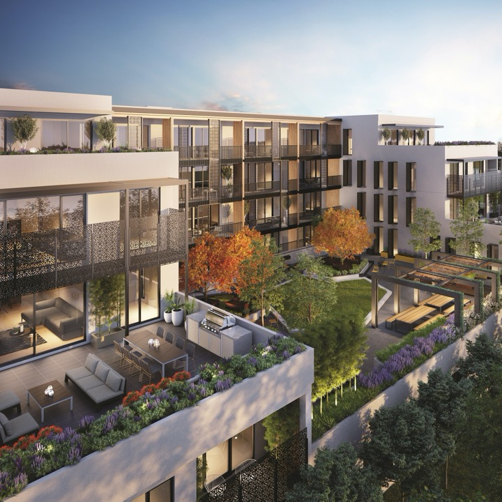 Exterior of a mid-rise residential building with beautiful outdoor public spaces