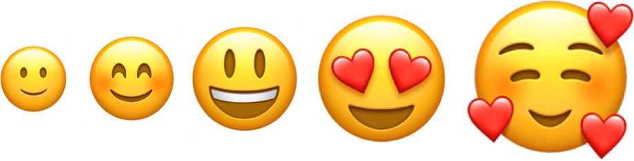 Five happy emojis