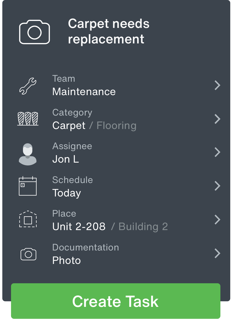 'Task details' screen in the Maintenance & Facilities app, which shows the unit number, service required, and the tech's name