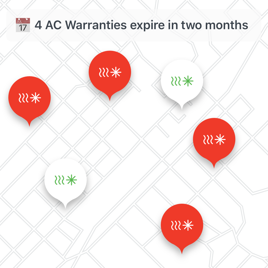 The notification screen in the app, which alerts managers about units that need HVAC service in the coming months