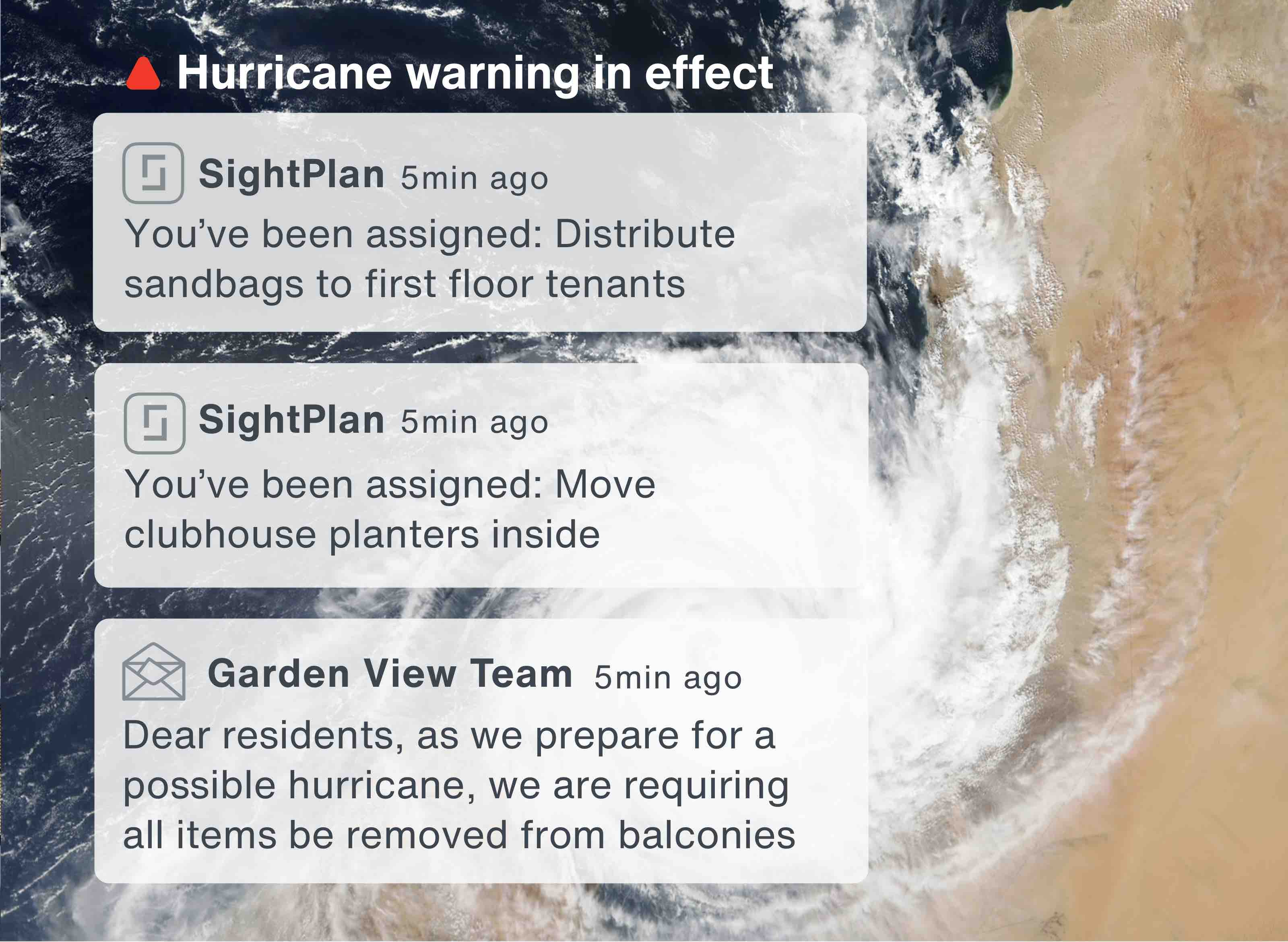 In-app alerts notifying the site team that there's a hurricane warning in effect and assigning tasks for storm prep