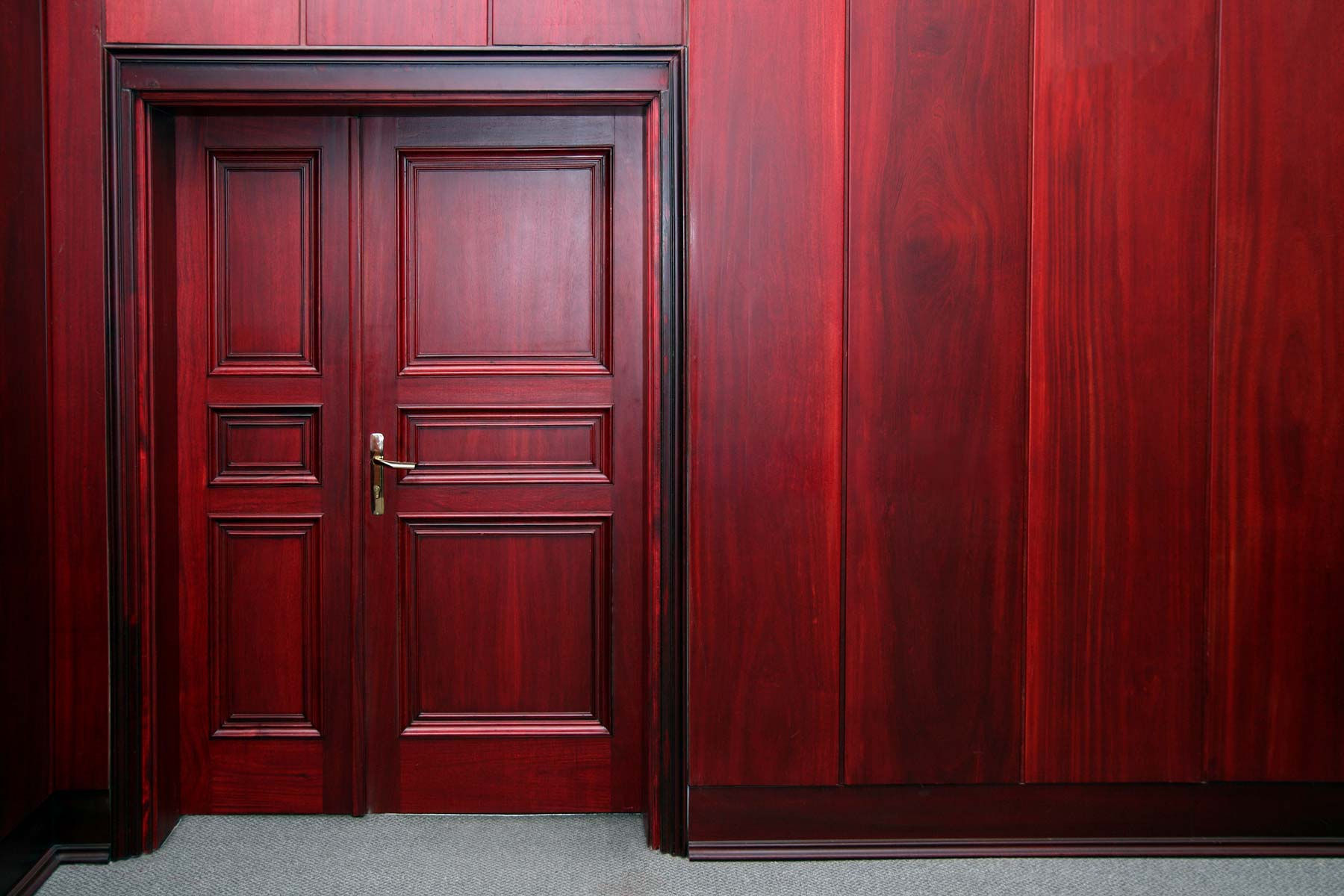 Cherry colored, upscale Fire Rated door and frame