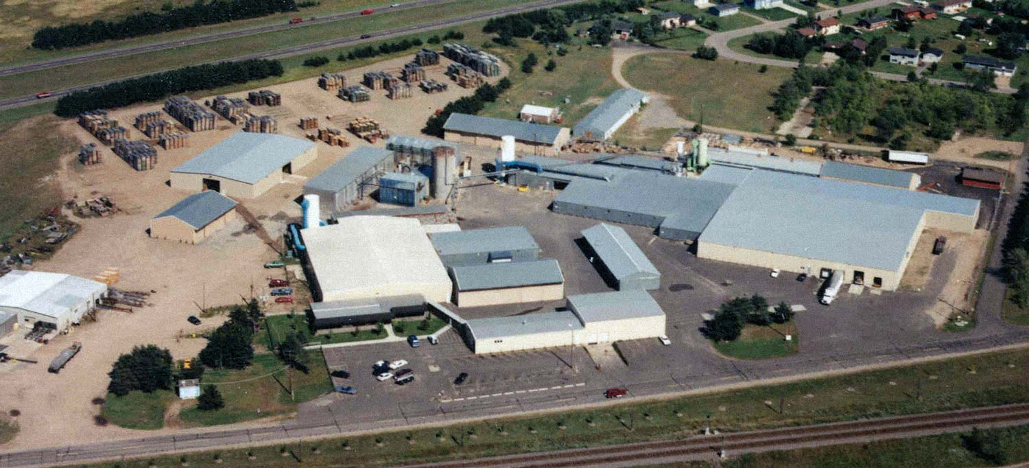 birds-eye airplane photo of the Ferche mill, plant, or campus