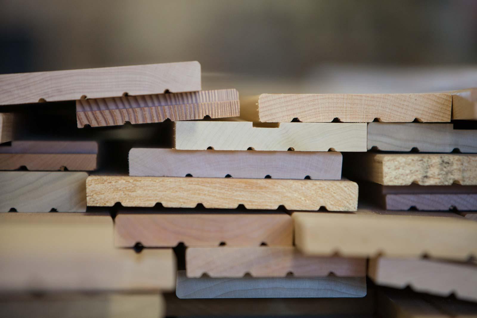 Beautiful, multi-colored stacks of door component hardwood mouldings