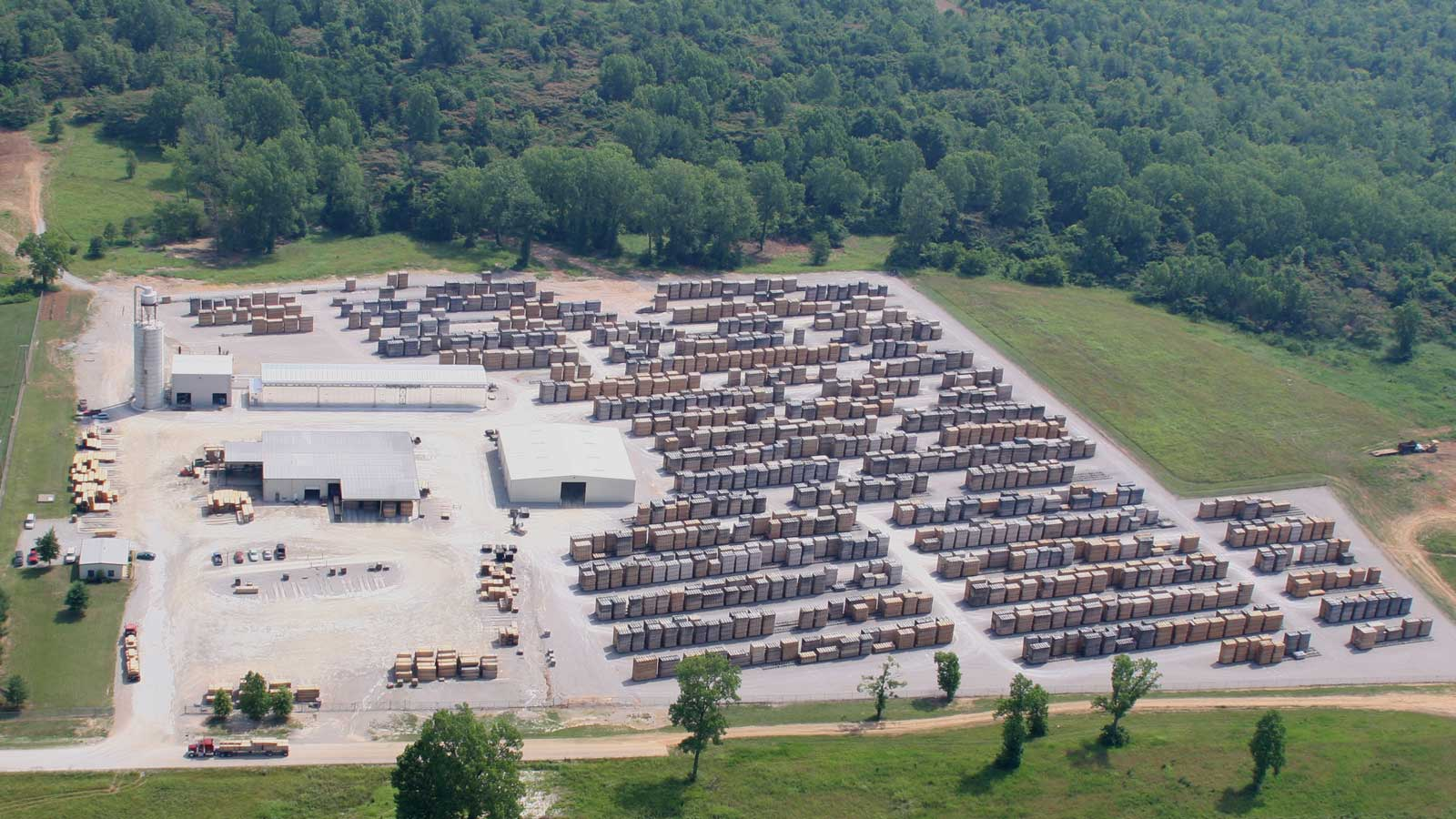 Aerial view of the Tennessee Ferche lumber yards