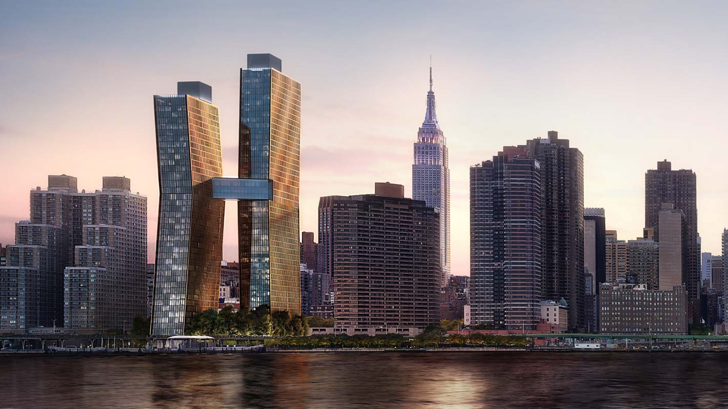 American Copper Buildings and the New York city skyline