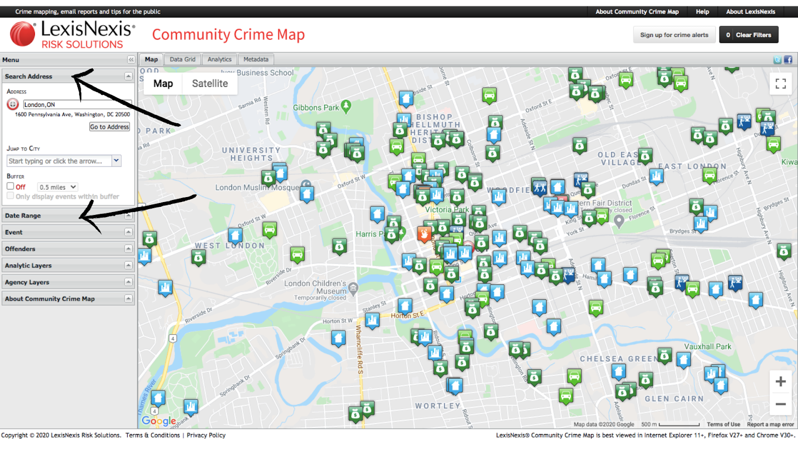 London Ontario Crime Map How to Use