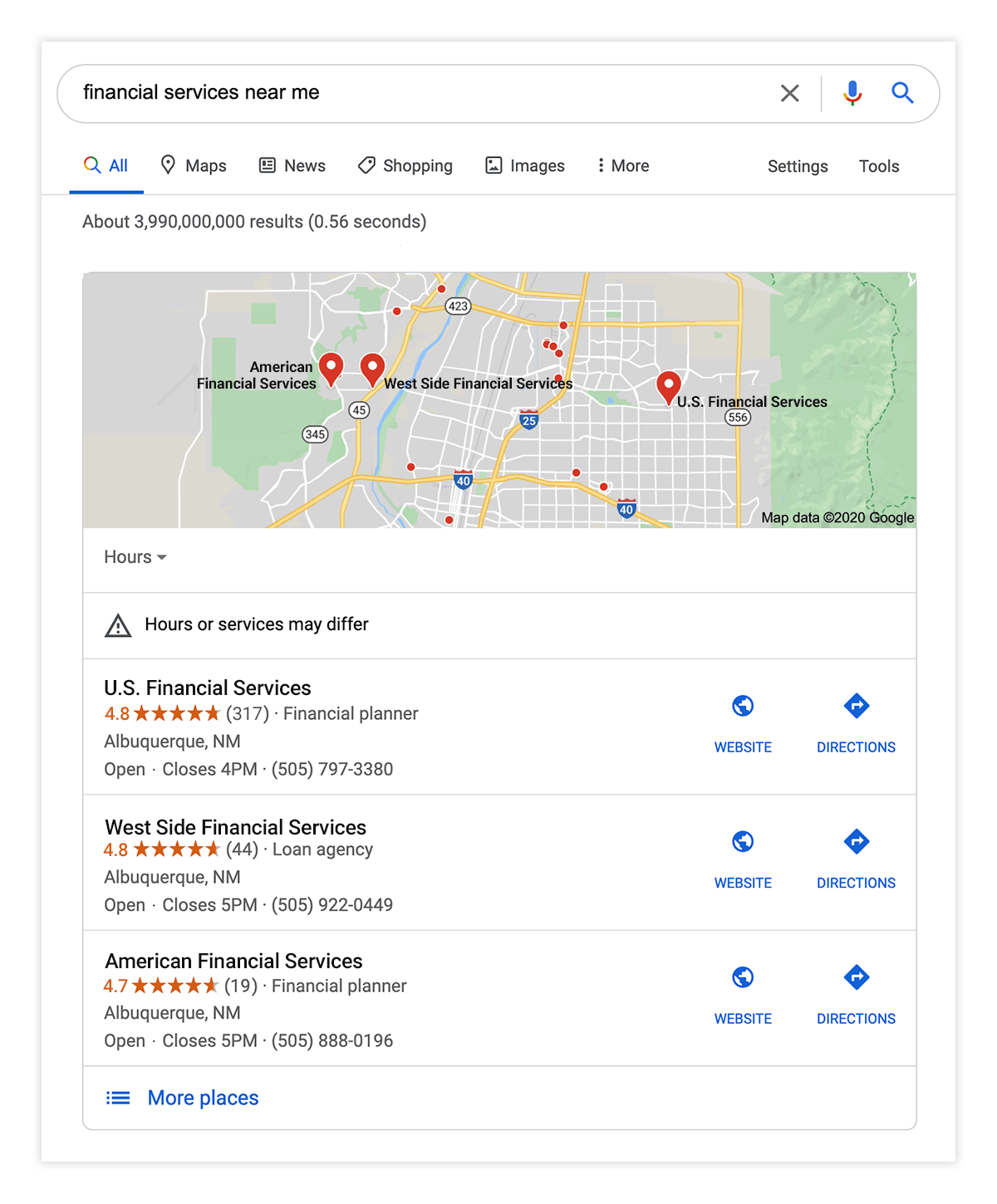 Financial Services Local Google Search