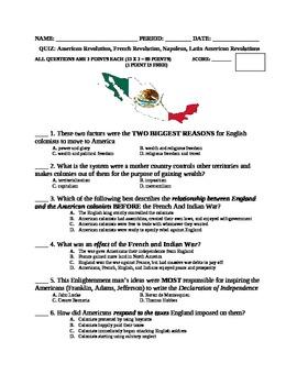 Revolutions Quiz