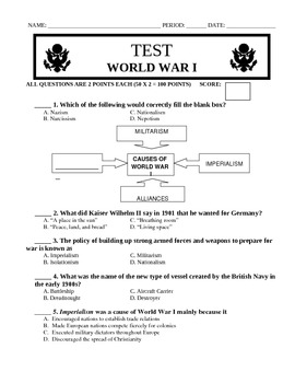 WWI and Russian Revolution Test and Key